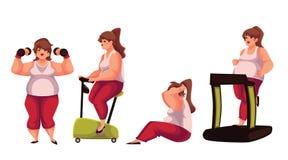 Mujer gorda que hace los ejercicios del deporte aislados en el fondo blanco Imagen de archivo libre de regalías