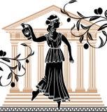 Mujer griega con el amphora stock de ilustración