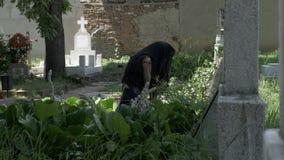 Mujer gritadora en vestido de luto negro en el sepulcro de la desolación y del dolor queridos de la sensación almacen de video