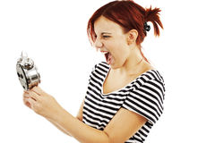 Mujer gritadora enojada del reloj de alarma Fotografía de archivo