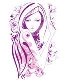 Mujer hermosa abstracta con las flores y las mariposas en líneas Fotografía de archivo