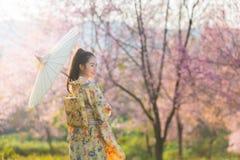 Mujer hermosa asiática que lleva el kimono y la flor de cerezo japoneses tradicionales en la primavera, Japón fotografía de archivo