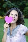 Mujer hermosa con corazones Imagen de archivo libre de regalías