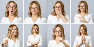 Mujer hermosa con diversos expresiones faciales y gestos fotos de archivo