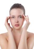 Mujer hermosa con dolores de cabeza Foto de archivo libre de regalías