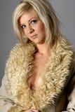 Mujer hermosa con el abrigo de pieles Fotos de archivo
