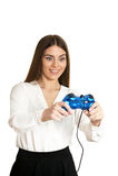 Mujer hermosa con el gamepad Fotos de archivo libres de regalías