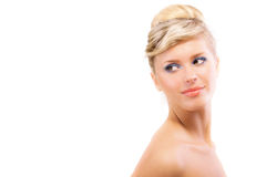 Mujer hermosa con el hombro descubierto Imagen de archivo