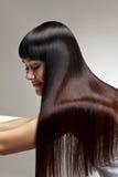 Mujer hermosa con el pelo largo sano Imagen de archivo