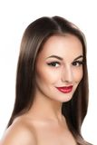 Mujer hermosa con el pelo marrón de largo recto Imagenes de archivo