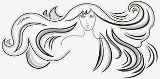 Mujer hermosa con el pelo ondulado largo Fotografía de archivo
