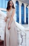 Mujer hermosa con el pelo oscuro en vestido beige elegante Imagen de archivo