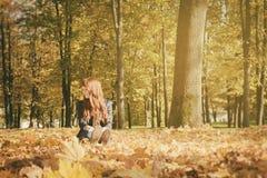 Mujer hermosa con el pelo rojo en parque de la caída Imagen de archivo libre de regalías