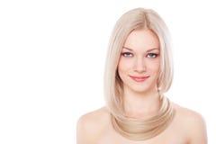 Mujer hermosa con el pelo rubio largo Imagenes de archivo