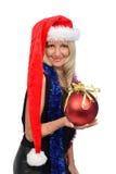 Mujer hermosa con el sombrero de Santa Fotos de archivo libres de regalías