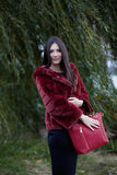 Mujer hermosa con la capa y el bolso rojos Fotos de archivo