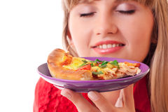 Mujer hermosa con la pizza Foto de archivo