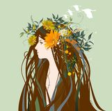 Mujer hermosa con las flores en el pelo Ilustración del Vector