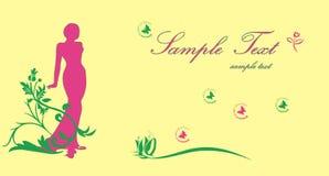 Mujer hermosa con las flores y las mariposas Imagen de archivo libre de regalías