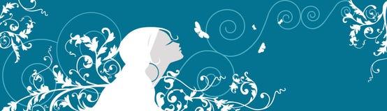 Mujer hermosa con las mariposas y las flores Stock de ilustración