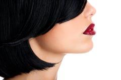 Mujer hermosa con los labios rojos atractivos y los pelos negros tirados Fotografía de archivo libre de regalías