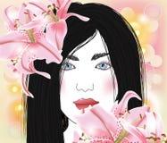 Mujer hermosa con los lirios Fotografía de archivo libre de regalías