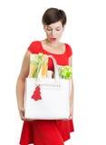 Mujer hermosa con los regalos de Navidad Fotos de archivo libres de regalías