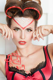 Mujer hermosa con maquillaje del día de tarjetas del día de San Valentín Imagen de archivo