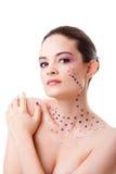 Mujer hermosa con maquillaje púrpura Imágenes de archivo libres de regalías