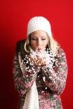 Mujer hermosa con nieve Fotografía de archivo