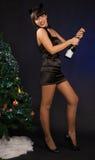 Mujer hermosa con una botella del champán Imagen de archivo