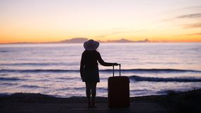 Mujer hermosa con una maleta en la playa soleada metrajes