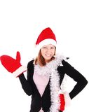 Mujer hermosa de la Navidad en el sombrero de santa. Fotos de archivo
