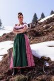 Mujer hermosa de moda en el Dirndl Fotografía de archivo