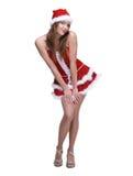 Mujer hermosa del baile weared en la alineada de Papá Noel Imágenes de archivo libres de regalías