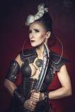 Mujer hermosa del guerrero Combatiente de la fantasía Fotos de archivo