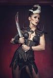 Mujer hermosa del guerrero Combatiente de la fantasía Imágenes de archivo libres de regalías