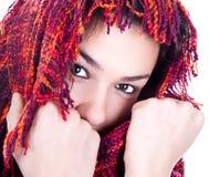 Mujer hermosa del invierno con la bufanda Fotografía de archivo libre de regalías