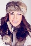 Mujer hermosa del invierno en maquillaje sutil fotos de archivo libres de regalías