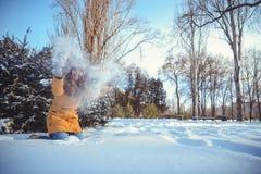 Mujer hermosa del invierno que juega con nieve Imagenes de archivo