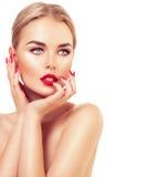 Mujer hermosa del modelo de moda con el pelo rubio Fotografía de archivo libre de regalías