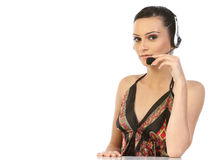 Mujer hermosa del operador de la atención al cliente Imágenes de archivo libres de regalías