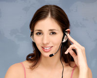 Mujer hermosa del servicio de atención al cliente Imagen de archivo libre de regalías