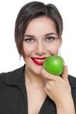 Mujer hermosa del tamaño extra grande con la manzana verde aislada Imágenes de archivo libres de regalías