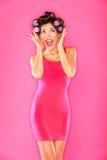 Mujer hermosa divertida emocionada Imagenes de archivo