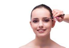 Mujer hermosa durante la sesión de los cosméticos del maquillaje aislada en whi Fotografía de archivo libre de regalías