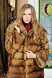 Mujer hermosa en abrigo de pieles en el interior. Imagen de archivo libre de regalías