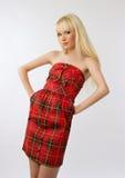 Mujer hermosa en alineada roja con el pelo rubio largo Foto de archivo libre de regalías