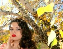 Mujer hermosa en bosque del otoño Imágenes de archivo libres de regalías