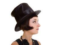 Mujer hermosa en cilindro del sombrero imagen de archivo